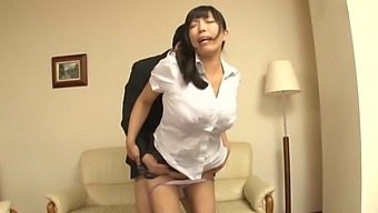 Good looking babe giving a titjob and gets fucked - Nozomi Mikimoto