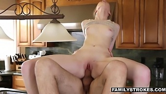 Cute stepsis Abi Grace is getting fucked on top of the kitchen counter
